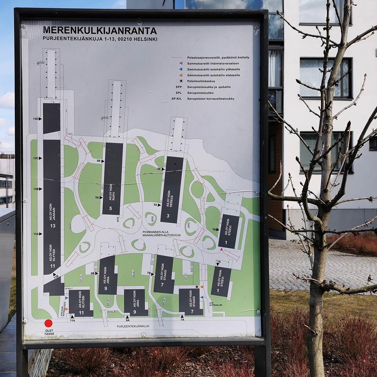 Merenkulkijanranta koostuu seitsemästä taloyhtiöstä sekä yhteisestä autohallista.